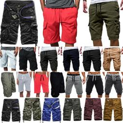 Men Casual Jogger Shorts Sports Cargo Pants Military Combat