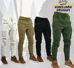 MEN SLIM STRETCH FIT SLIM FIT ZIPPER SHIRRING CARGO JOGGER P