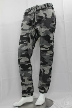 MEN TWILL JOGGERS PANTS HIP HOP TROUSERS SLIM FIT GREY CAMO