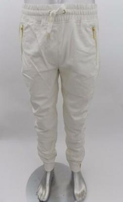 Mens Makobi Big/Tall Ivory PU Faux Leather Joggers Gold Zipp