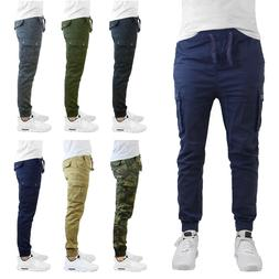 Mens Cargo Jogger Pants Soft Cotton Twill With Stretch Comfo