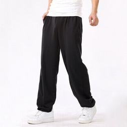 Mens Casual Joggers Bottoms Loose Sport Gym Sweat Pants Pock