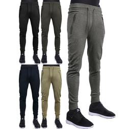 Mens Casual Pants Fleece Jogger French Terry Sports Slim Fit