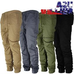 Mens Twill Joggers Pants Hip Hop Elastic Casual Jogger Slim