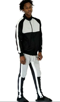 Mens Colorblock Striped Tracksuit Set 2 pc Track Pants Zippe