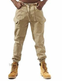 Mens Cotton Twill Joggers With Cargo Pockets By Smoke Rise S