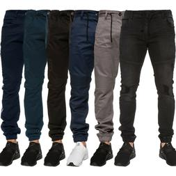Enzo Mens Cuffed Jeans Chinos Stretch Fit Ripped Denim Jogge