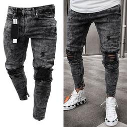 mens denim skinny ripped jeans pants casual