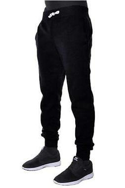 mens fleece jogger pants elastic 1hc03 black