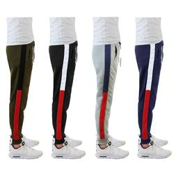 Mens Fleece Jogger Sweatpants w/ Side Trim Slim-Fit Lounge S