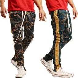 Mens GOLD Track Pants Chain Print Stripe Joggers Sweats Trou