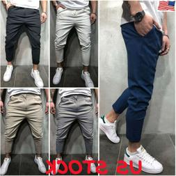 Mens Gym Slim Fit Trousers Gym Bottoms Skinny Joggers Sweat