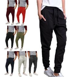 Mens JOGGER BASIC Fleece Dance Pants Active Urban Gym Harem