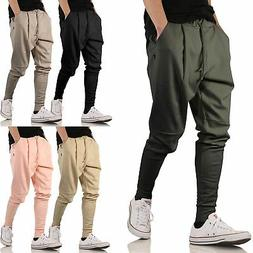 mens jogger drop crotch pants elastic loose