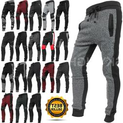 Mens JOGGER Pants Fleece Sweatpants BIKER Zipper Gym Track S
