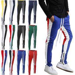Mens Track Pants Jogger Sweatpants Gym Soccer Jogging Ankle