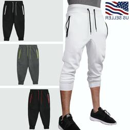 Mens Jogger Shorts With Zipper Pockets Soft Knit Lounge CAPR
