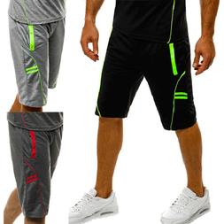 Mens Jogger Sports Shorts Running Workout Capri Trousers Cas