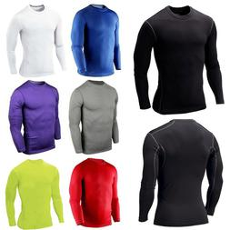 Mens Long Sleeve Compression T Shirt Base Layer Gym Muscle J