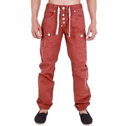 Mens Red Chinos Joggers Regular Fit Cuffed Jogger Jeans Wasi