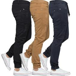 Enzo Mens Ripped Cuffed Chinos Jeans Slim Stretch Jogger Pan