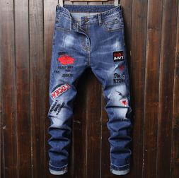 mens ripped skinny jeans distressed frayed biker