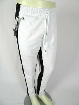 Mens Southpole Skinny Jogger Trackpants White with Bold Blac
