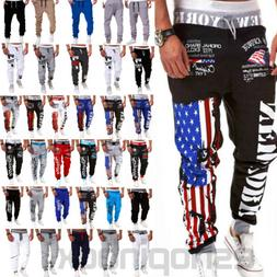 Mens Slim Fit Joggers Jogging Bottom Gym Workout Training Pa