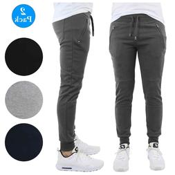 Mens Slim-Fit Joggers w/ Zipper Pockets French Terry Lounge