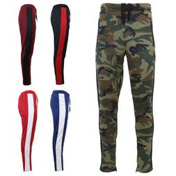 Mens Track Jogger Pants Sweatpants Running Stripe Active Spo