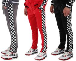 Mens Track Pants Jogger Sweatpants Side Ankle Zip Hipster Lo