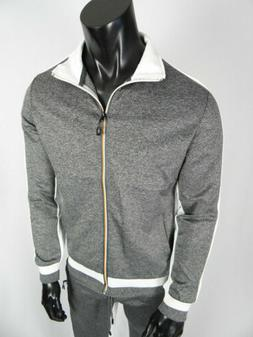 Mens Trill Tracksuit Jacket Jogger Set Marled Gray White Str