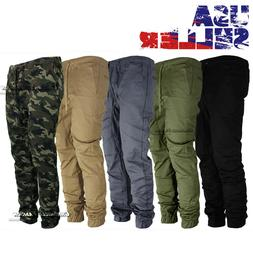 Mens Twill Jogger Pants Casual Drop Crotch Slim Elastic Jogg