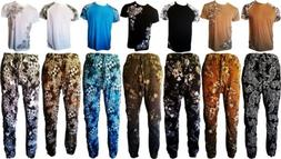 mens twill jogger pants floral printed t