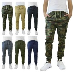 Mens Twill Joggers Cargo Pocket Cotton Slim Fit Stretch Work