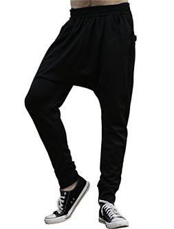uxcell Men Mid Rise Elastic Waist Casual Tapered Harem Pants