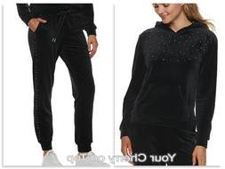 JUICY COUTURE Nailhead Velour Hoodie Joggers Track Suit Slat