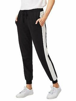 SweatyRocks NEW Black White Womens Size Large L Jogger Stret