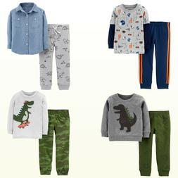 New Boys 2Pc Sweatshirt / Chambray Shirt/ Jogger Set Dino/Sp