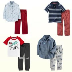 New Carter's Baby/Toddler Boys' 2-Pc Chambray Shirt/ Joggers