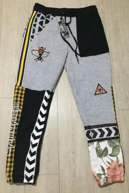 New Reason Brand Clothing Embroidered Bee Joggers Mens Size