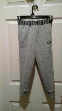 NEW GIRLS UNDER ARMOUR FLEECE LINED GRAY JOGGER PANTS,SIZE Y