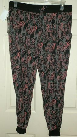 New Juniors 2X Black Pink Joggers Eye Candy Front Pockets Kn