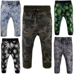 New Men Capris French Terry Jogger Shorts Joggers Weed Print