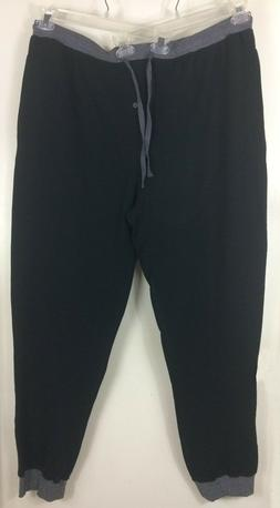 New Men's Hanes Black And Gray Jogger Jogging Pants With Poc