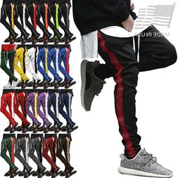 Mens Track Pants Jogger Sweatpants Poly Side Ankle Zip Long