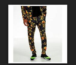 NEW MENS S XL NIKE FLORAL TRIBUTE JOGGERS PANTS BLACK RED YE