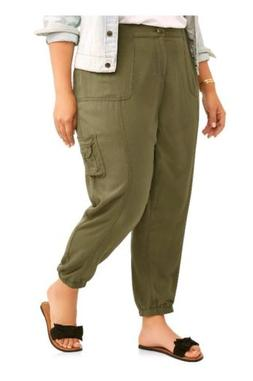 NEW Women Soft Utility Cargo Joggers Generous Fit Olive Gree