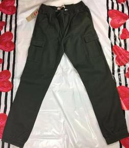 NEW YOUTH LEVI'S CARGO JOGGER PANTS SLIM HIP TO ANKLE Olive
