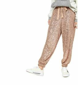 Free People Night Moves Sequin Jogger Pants Gold S